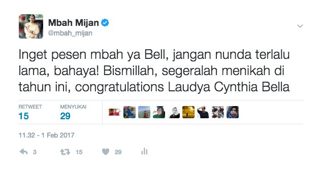 postingan Mbah Mijan soal pernikahan Laudya Cynthia Bella