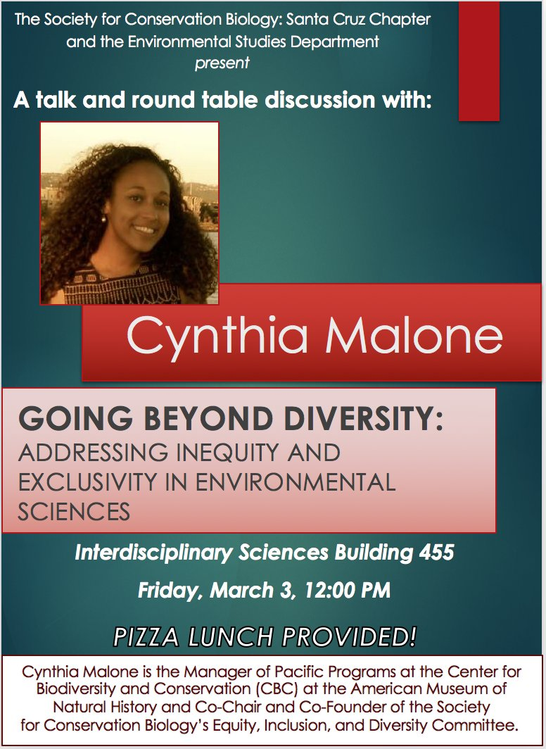 Stoked to hear @cynth_malone on Friday - going beyond diversity in envt'l studies! See you there @sacnas @UCSC_GradDiv @Society4ConBio https://t.co/ZhrEZgNiEO