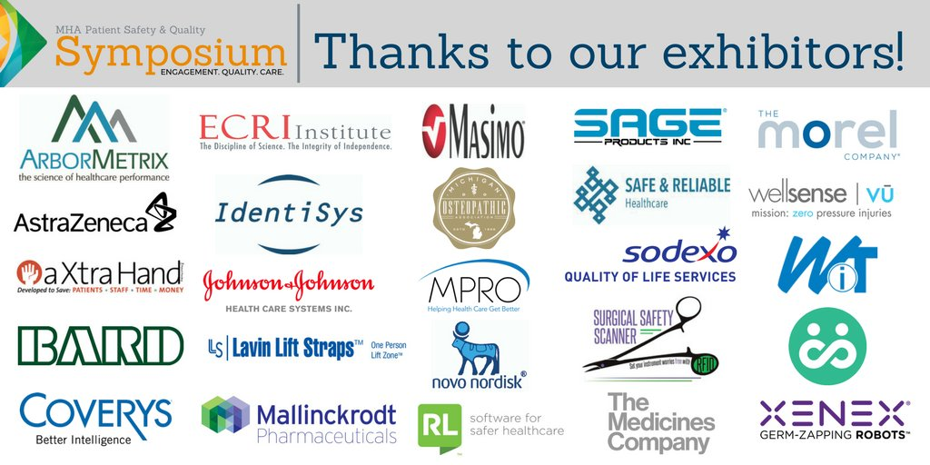 TY to the exhibitors that will be at next week's MHA #PatientSafety & Quality Symposium! We greatly appreciate your support. #MHAKeystone https://t.co/Kvzaq3Rmer