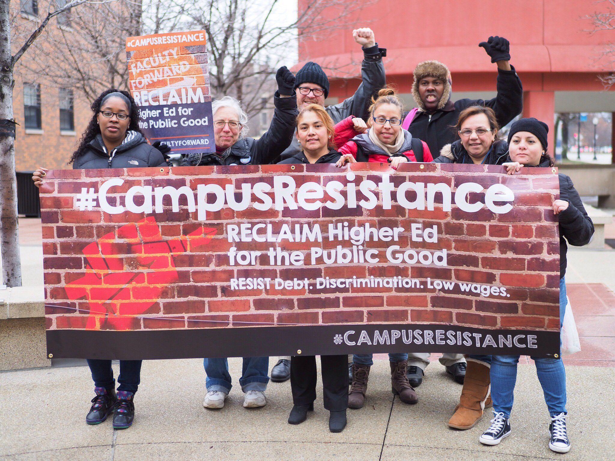 The #CampusResistance is in full swing! Faculty, students and allies from 80+ colleges and universities are standing up for #HigherEd. https://t.co/O9VPDyKmXN