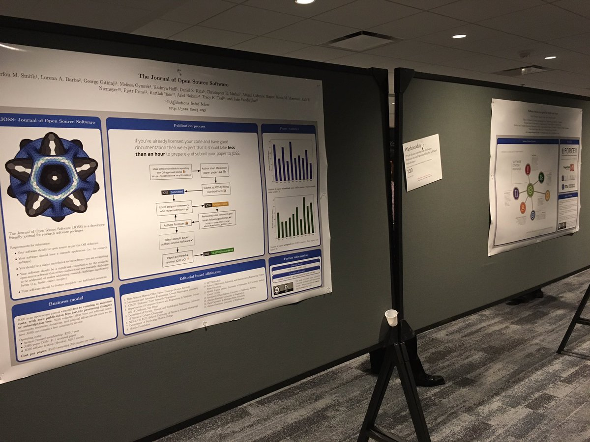 The #softwarecitation principles and @JOSS_TheOJ posters are eagerly waiting for the #SIAMCSE17 poster session to start<br>http://pic.twitter.com/tt7LyeP2EH