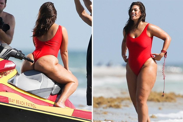 d60bfc63471ab Ashley graham gives baywatch a voluptuous twist as she dons iconic swimsuit  for red hot spectacle