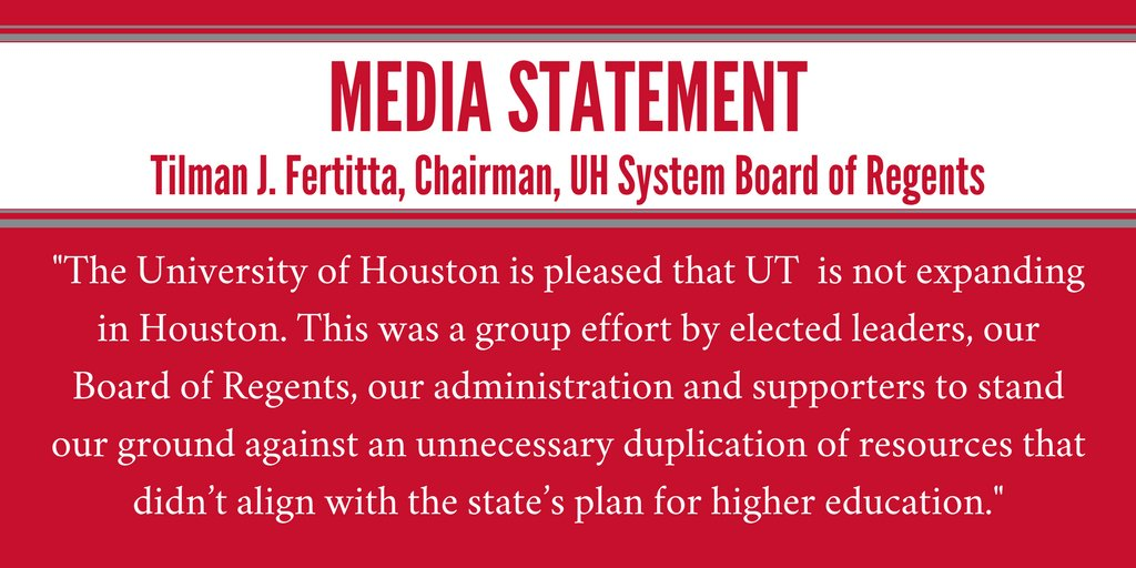 Chairman Fertitta: The University of Houston is pleased that UT is not expanding in Houston. https://t.co/3yHD5jWSr0 https://t.co/TecDbo6jCq
