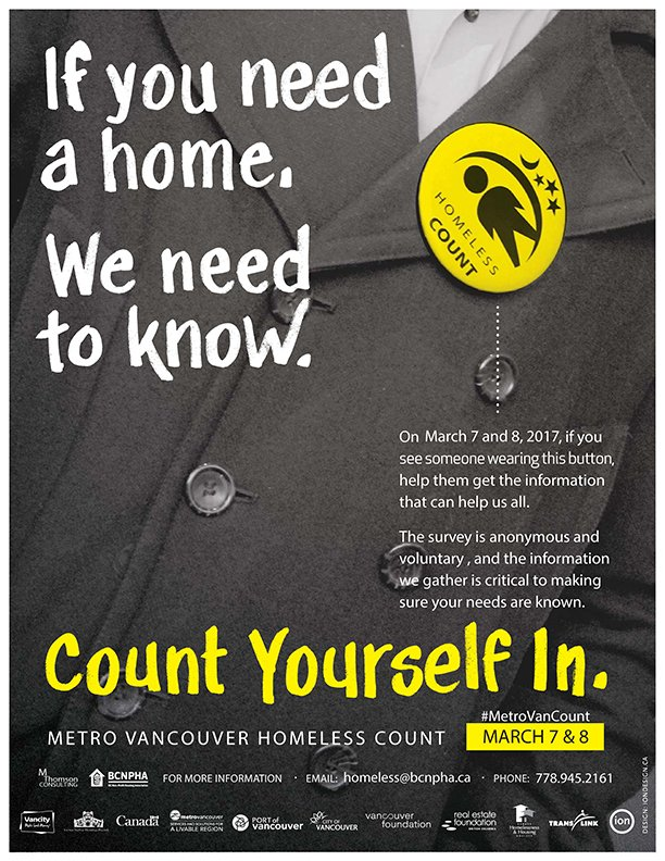 March 7 & 8 is the Metro Vancouver Homeless Count. If you or someone you know needs a home, let them know #MetroVanCount #EndHomelessness https://t.co/RY6fE7kC3C