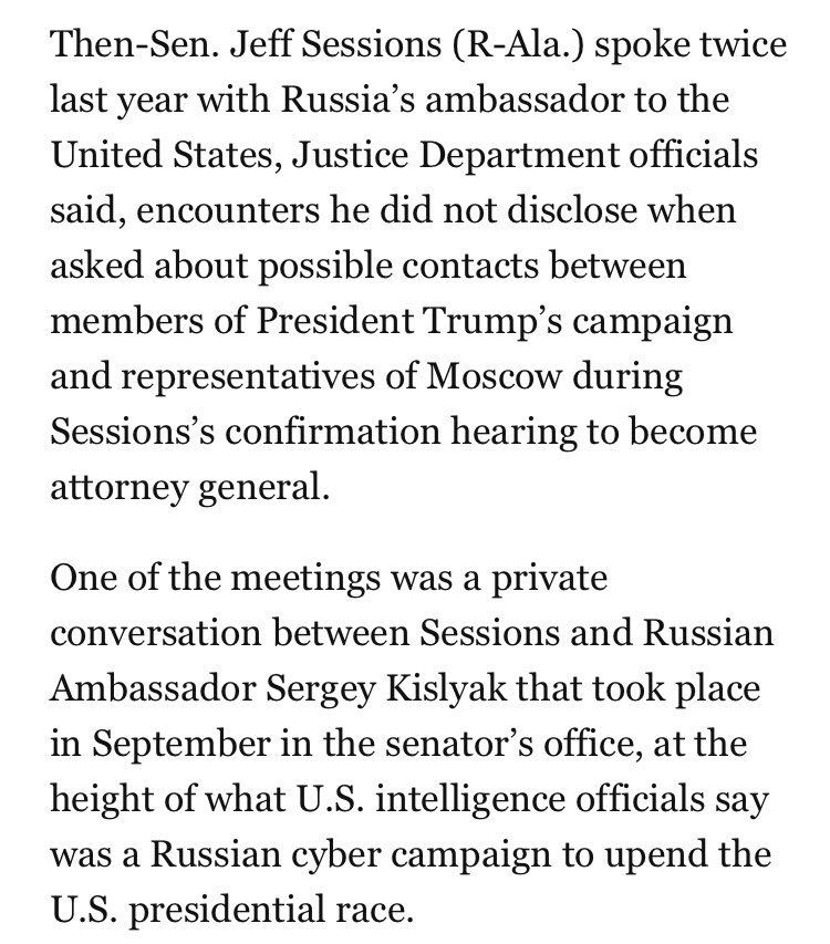 Jeff Sessions, who oversees the FBI investigating Russia/Trump, spoke with Russian ambassador during the campaign https://t.co/eUpois2anp