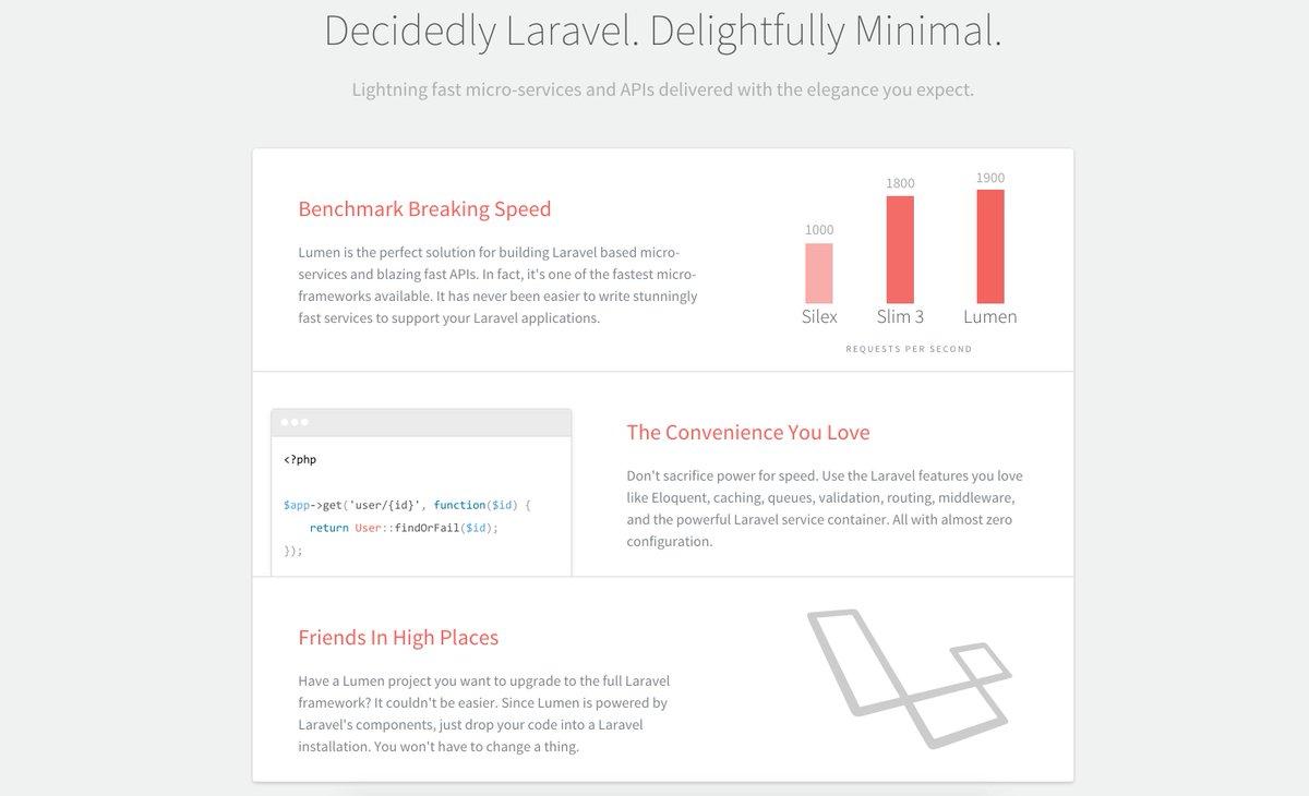 RT @FrameworksM: Lumen  lumen laravel com #PHP #Laravel The