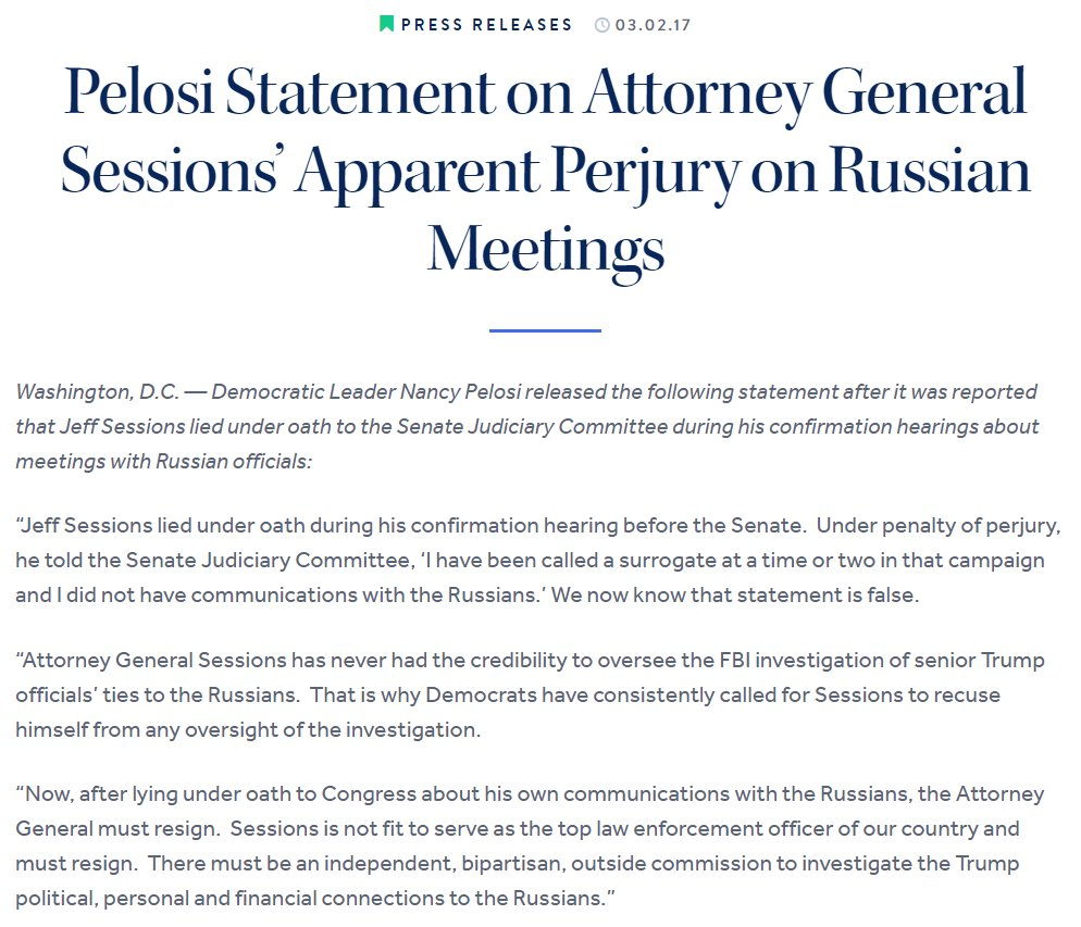 nancy pelosi on ag sessions is not fit to serve as the nancy pelosi on ag sessions is not fit to serve as the top law enforcement officer of our country and must resign t co 5r8kpgqsrt