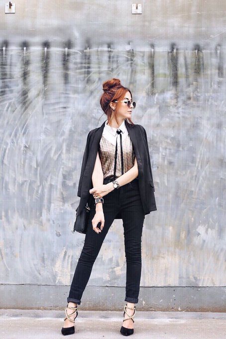 Boyish Glam Outfit in Black & Gold