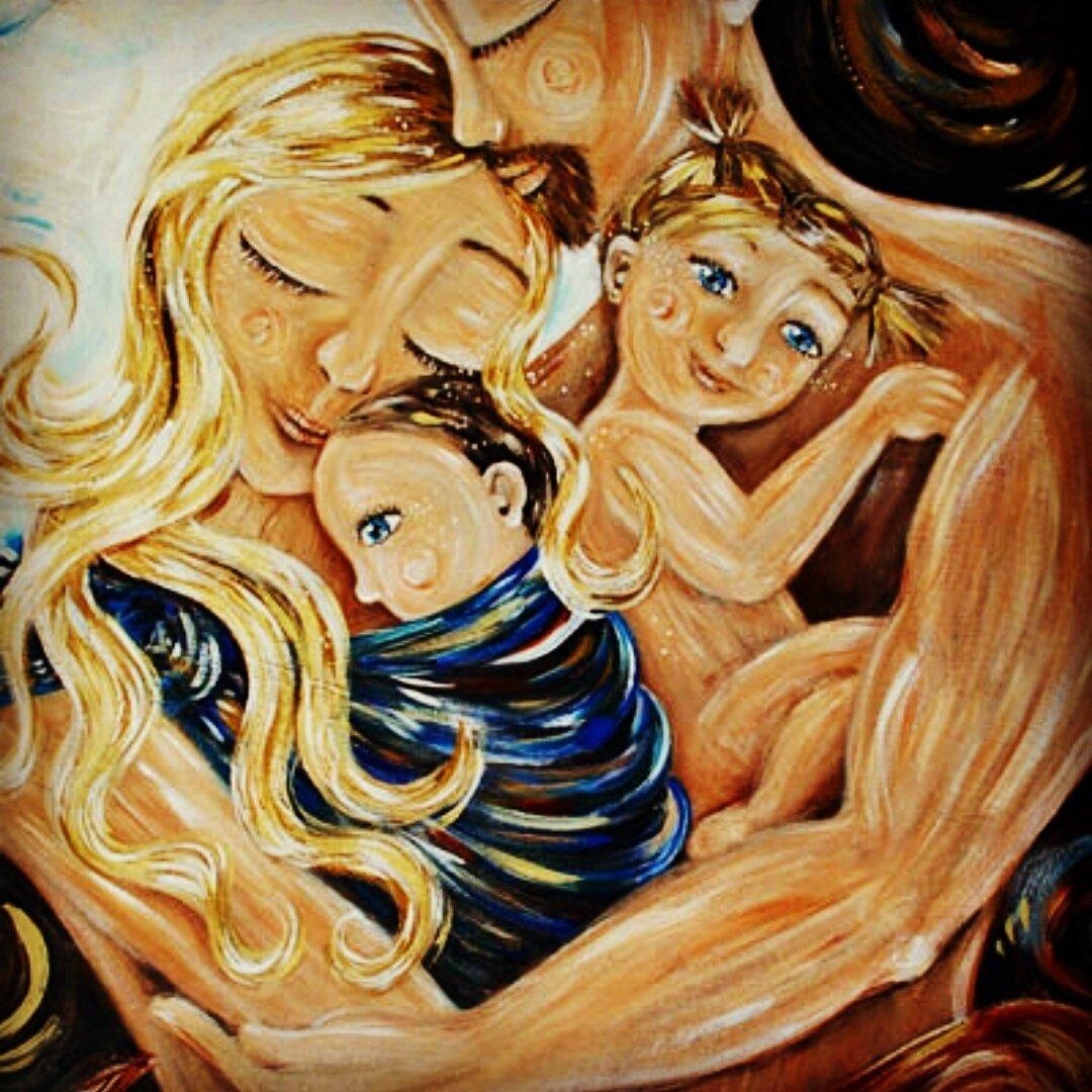 были картинка мама с двумя сыновьями рисунок них можно разглядеть