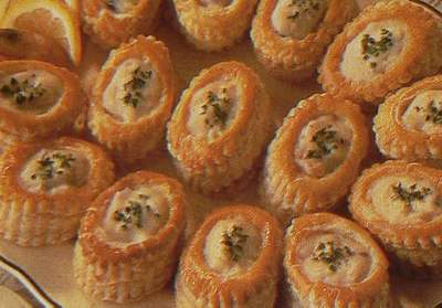 Party food Prawn and mushroom bouchee,recipe