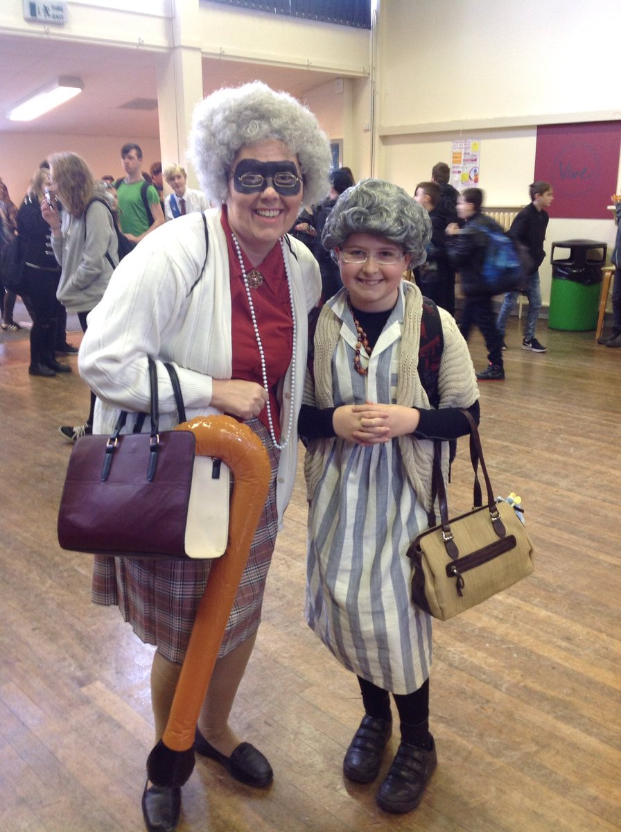 Watch out! Gangsta Grannies on the prowl in Long Stratton... Deputy Head, Mrs Foreman and Thomas in YR7. #WorldBookDay @EDP24