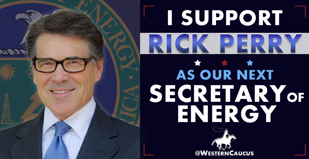 Join me in supporting fellow Texan, @GovernorPerry as our next #SecretaryOfEnergy! https://t.co/yiqBTf5osa