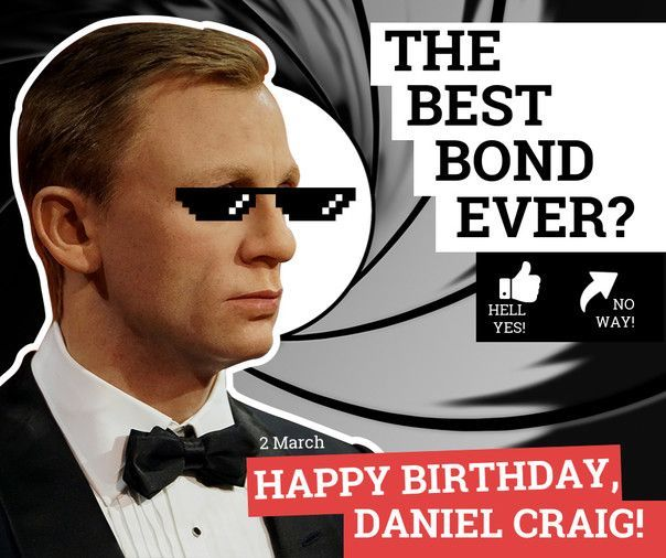 Happy birthday Daniel Craig! Born on this day in 1968.