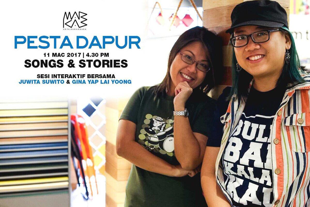 "fazleena hishamuddin on Twitter: ""Sesi interaktif bersama Gina Yap Lai Yoong & Juwita Suwito sempena #pestadapur di #markasKD 11 mac ini. Best wo!"