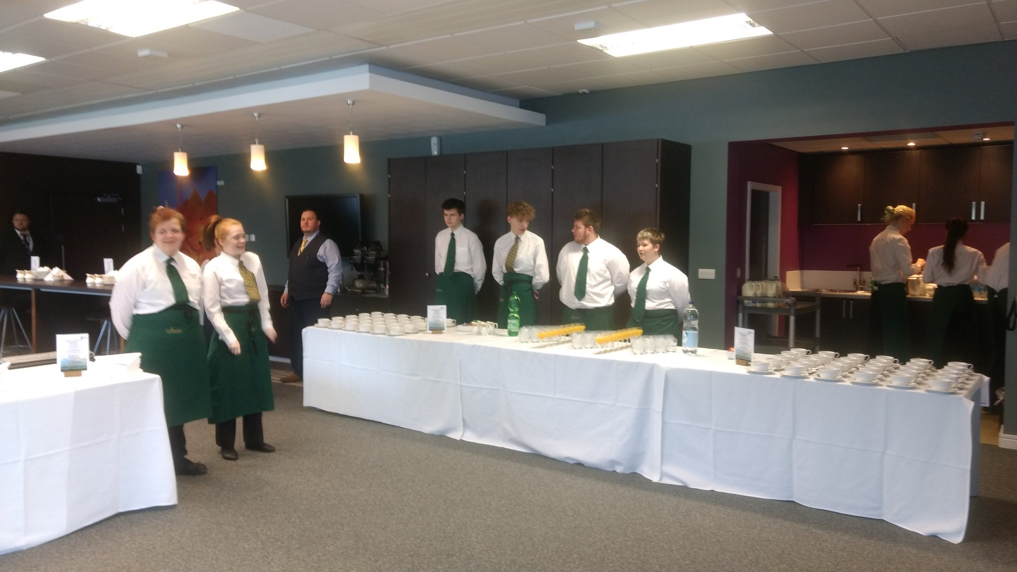 Our Hospitality students busy setting up for the #BayGateway opening. https://t.co/nrmHEkk86k