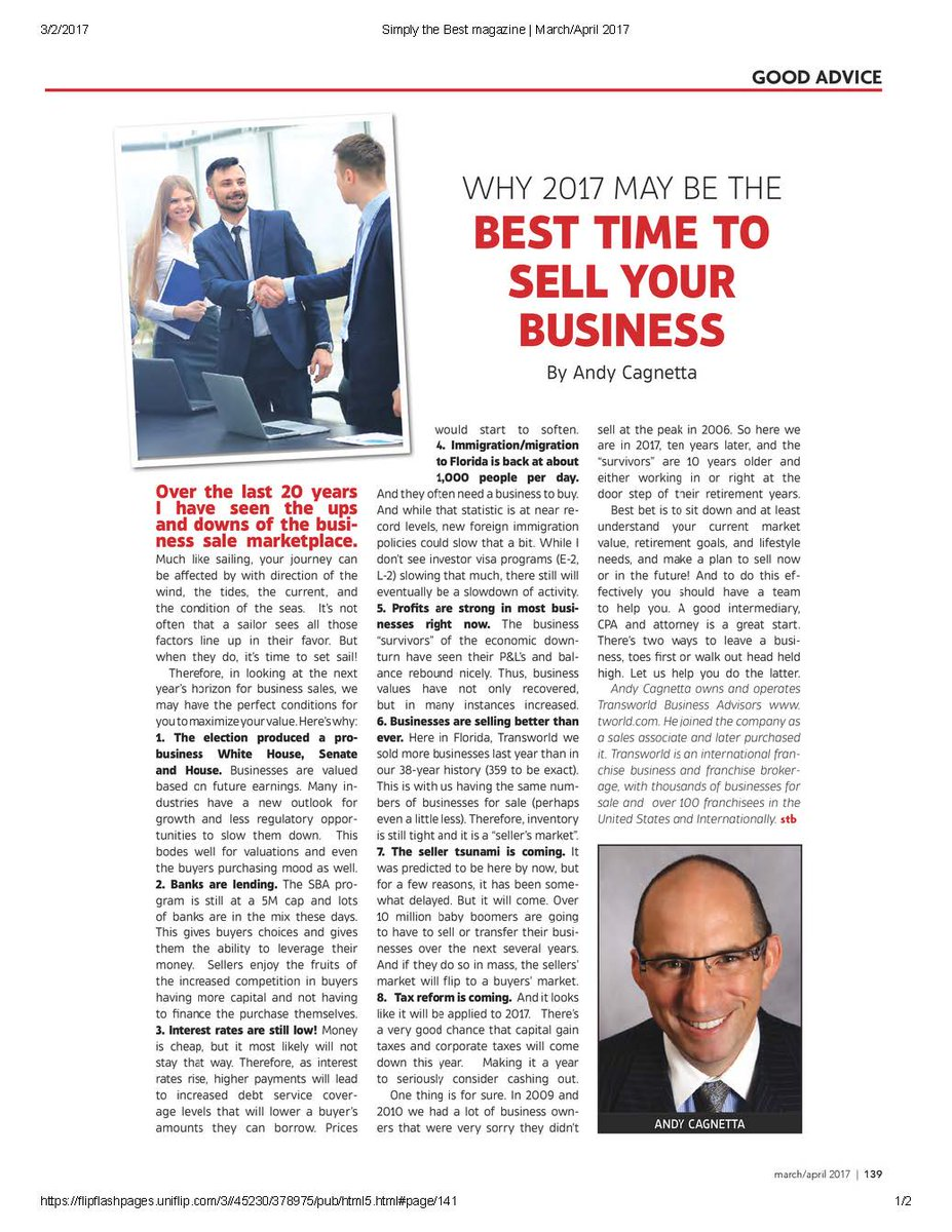 Why 2017 may be the best time to sell your business tworldbusiness simplythebestmagazine https t co 17apcrtvjj https t co ppmzwztql2
