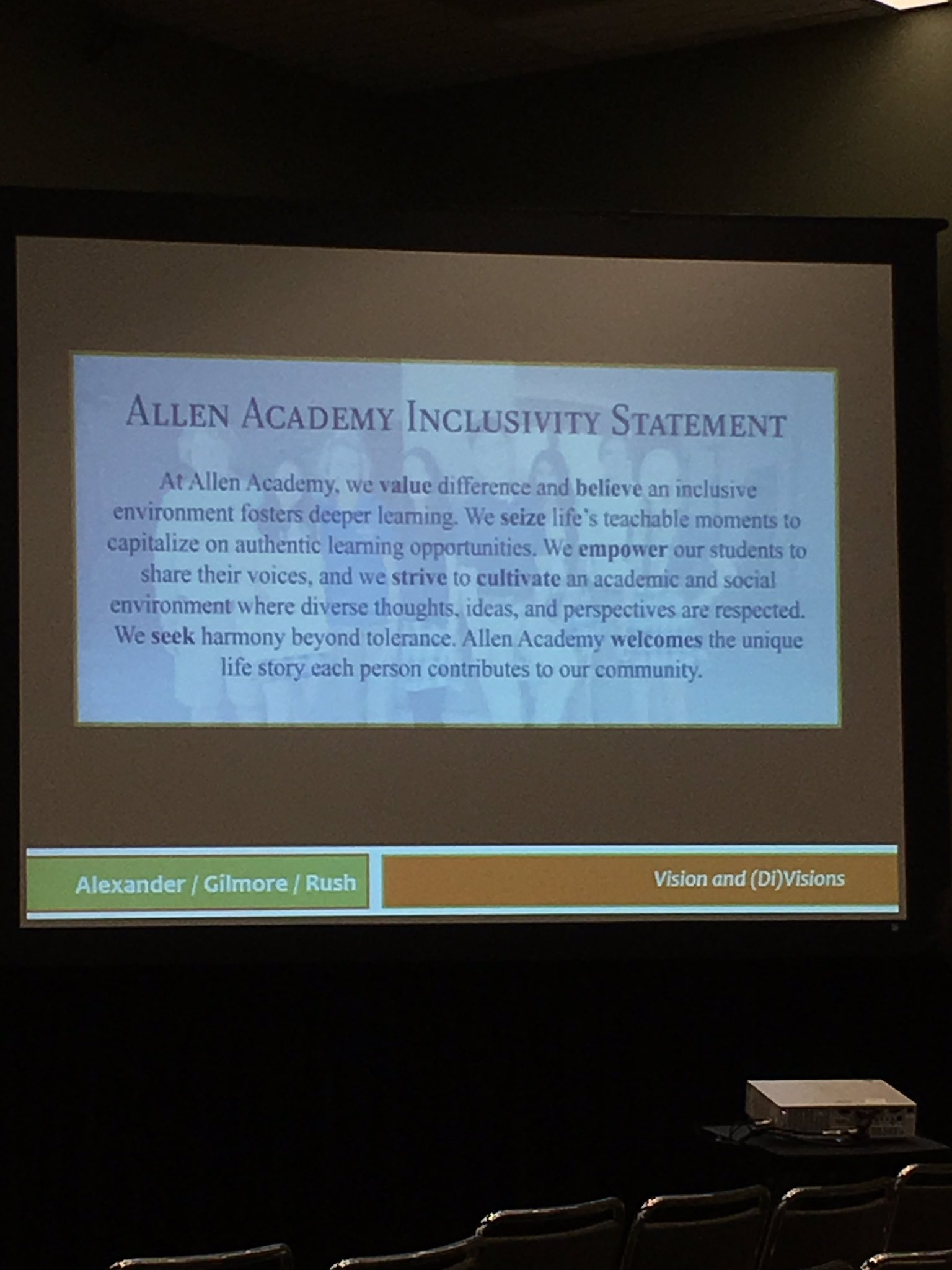 Allen Academy's students were charged to write their school's inclusivity statement. Powerful message. #naisac https://t.co/t915xf18Fg
