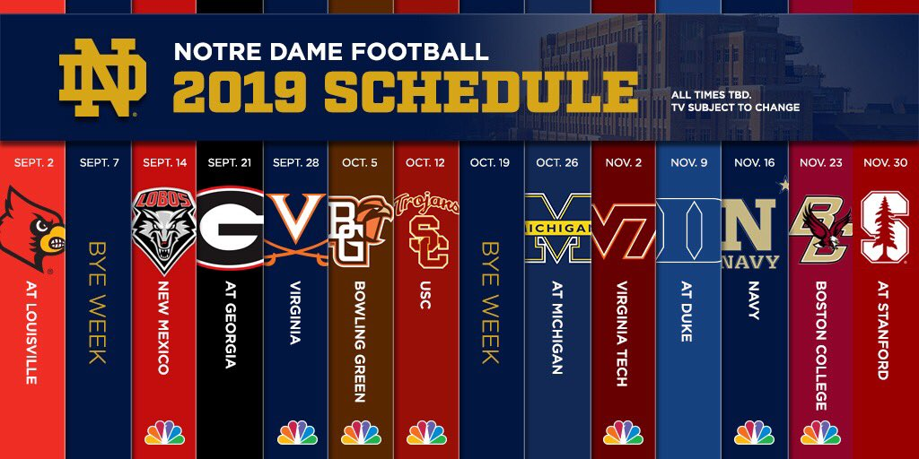 Notre Dame 2020 Football Schedule.Notre Dame Football On Twitter Start Planning Your 2019