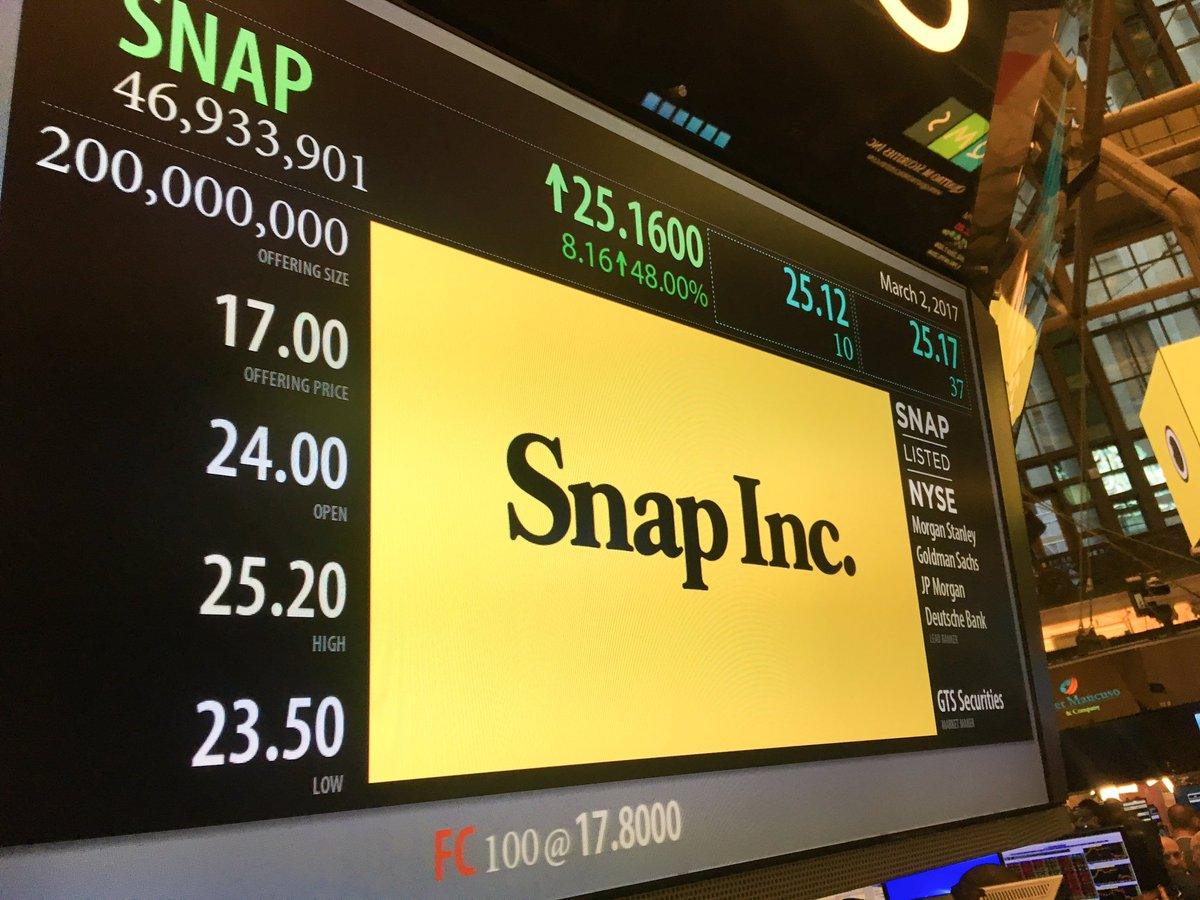 And @snap is officially open at $24.00 https://t.co/JKNhAUhUcg