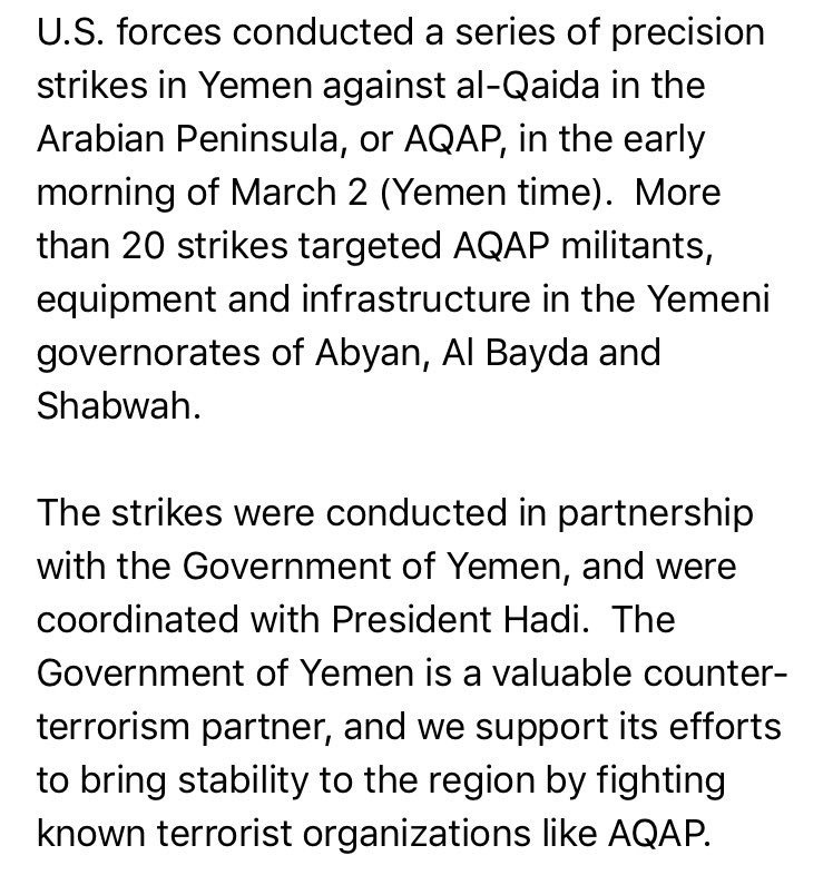 US airstrikes hit alQaida in Yemen-targets included militants, infrastructure, heavy weapons systems per Pentagon's Capt. Jeff Davis