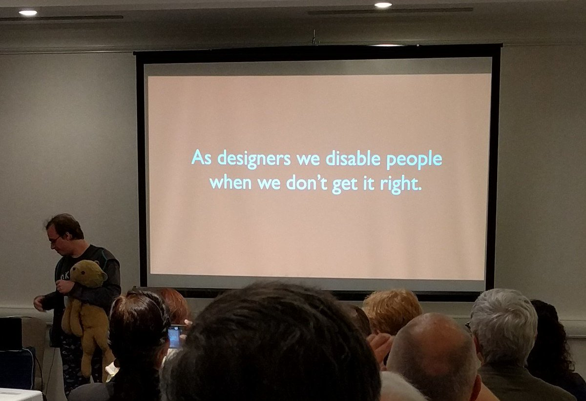"Great slide from @JamieKnight at #CSUNATC17: ""As designers, we disable people when we don't get it right."" https://t.co/ke0r3CfCy6"