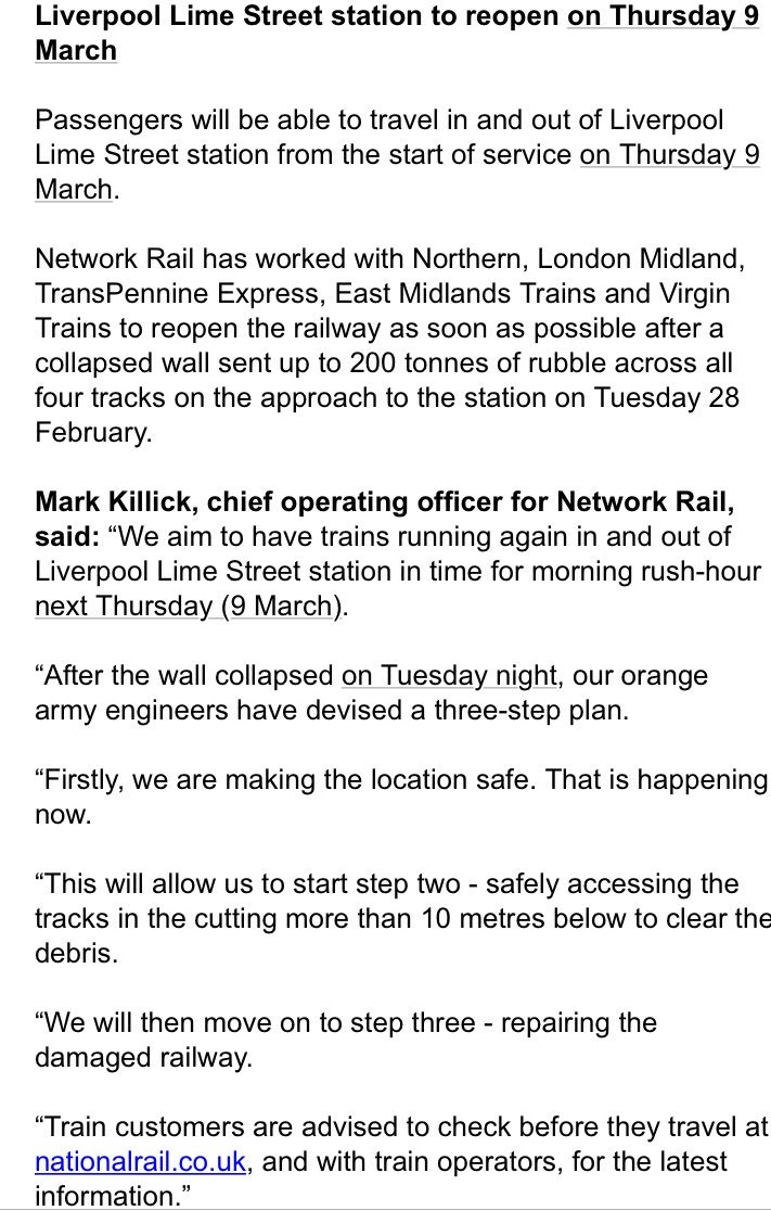 Liverpool Lime St On Twitter LiverpoolLimeStreet To Reopen Next