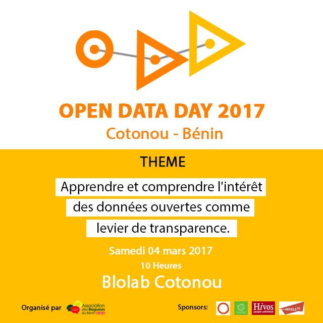 #OpenDataDay 2017 : l'Association des blogueurs du #Bénin (@ab_benin) organise l'étape de #Cotonou https://t.co/o5R7TbMNXF https://t.co/6MdqSaxqwN
