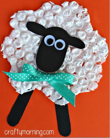 Bubble Wrap Easter Sheep Craft