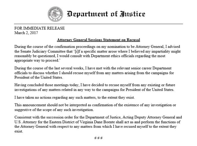 Attorney General Sessions' Statement on Recusal | March 2, 2017 | For Immediate Release – for text of statement, visit https://www.justice.gov/opa/pr/attorney-general-sessions-statement-recusal