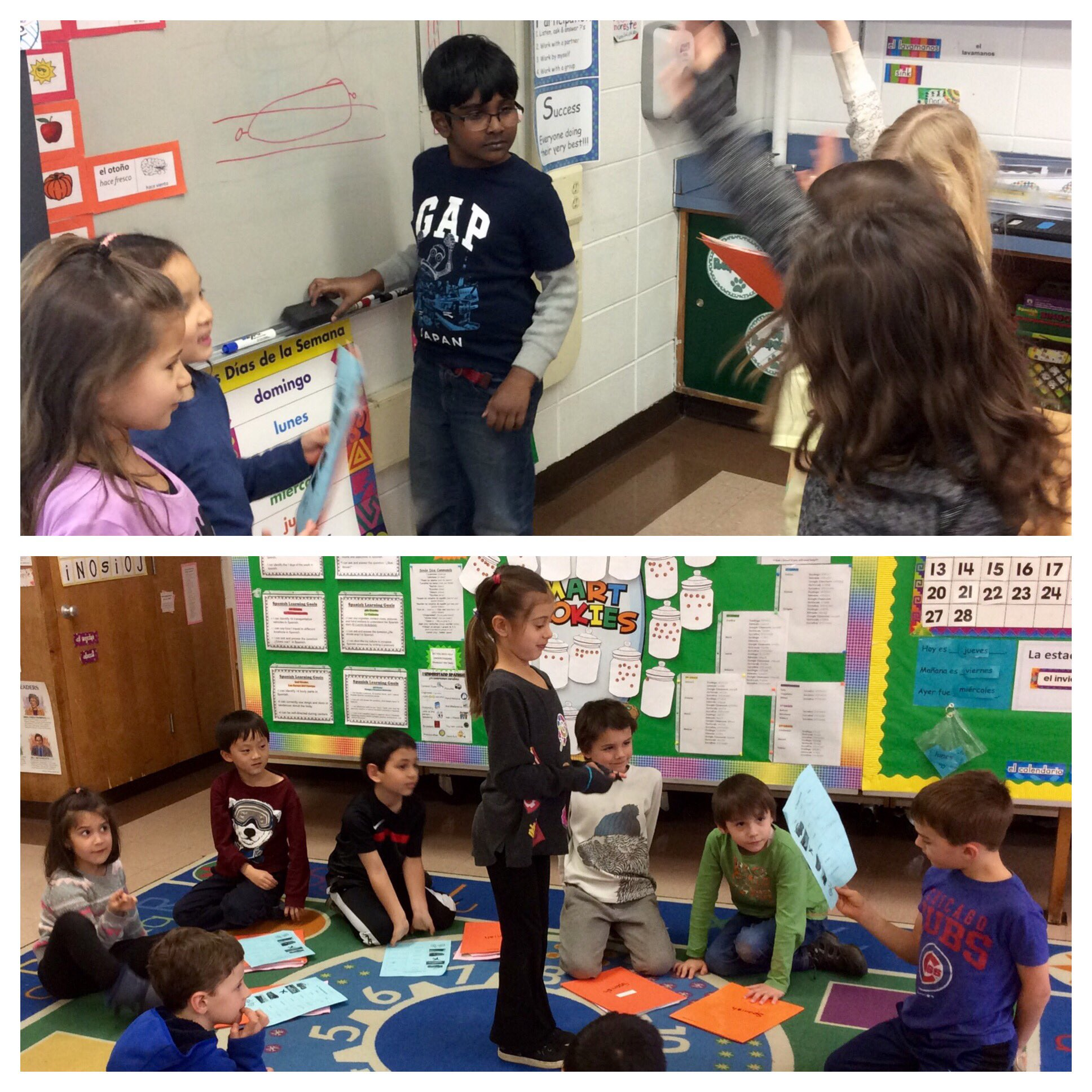 Pictionary & Charades are fun, active ways for students to practice new Spanish vocabulary words! #sp109 #engage109 https://t.co/wqGgYPOxnw