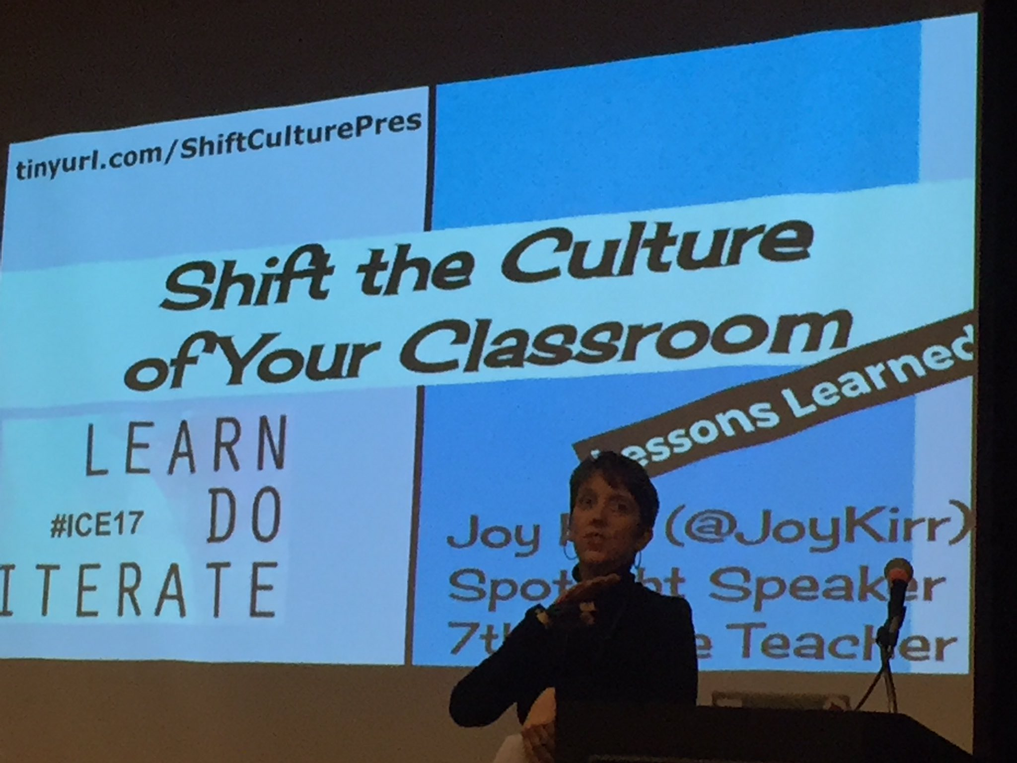 Just kicking off her Shift the Culture of Your Classroom with @JoyKirr at #ICE17 remembering how @ewanmcintosh changed our practice! https://t.co/tiXUXSuwGt