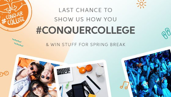 It's your last chance to share your #ConquerCollege moment & win big! What are you waiting for? https://t.co/uT7j9xCUGe https://t.co/D5px5fg9su