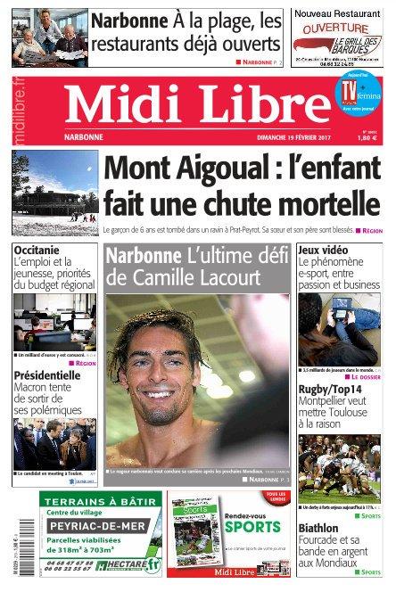 A la une de #MidiLibre #Narbonne ce dimanche - #Natation : l&#39;ultime défi de @Cam_Lacourt  - À la plage, les restaurants déjà ouverts<br>http://pic.twitter.com/YTyqkCmOHr