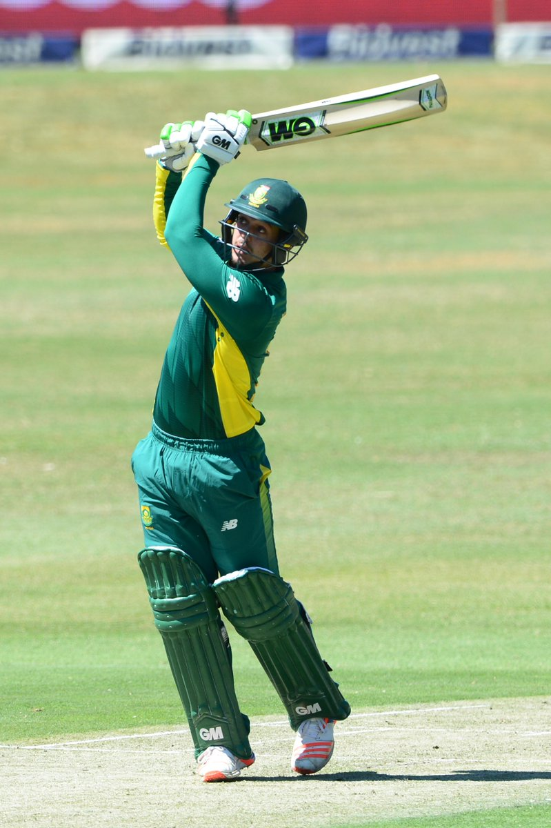 SA 80 without loss after 14 overs. de Kock 45, Amla 33*. Target is 208...