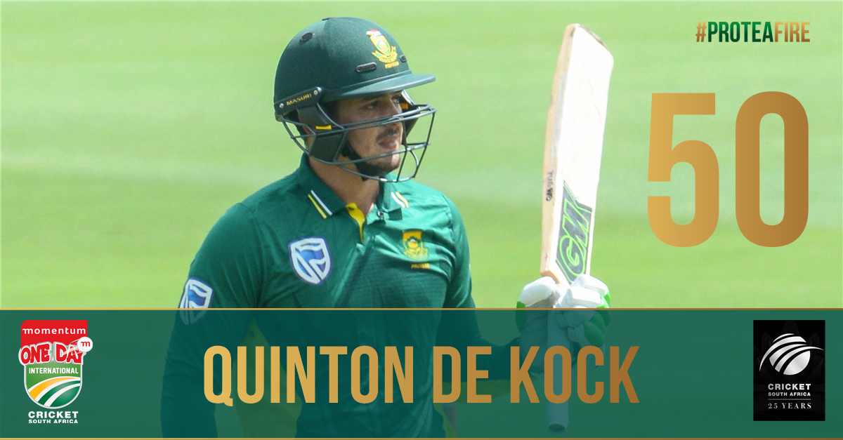 A boundary and that's @quinnydekock69's 10th ODI half-century! SA 86/0...