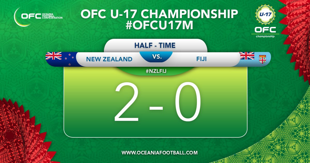 """New Zealand Time Twitter: OFC Oceania Football On Twitter: """"HALF-TIME"""