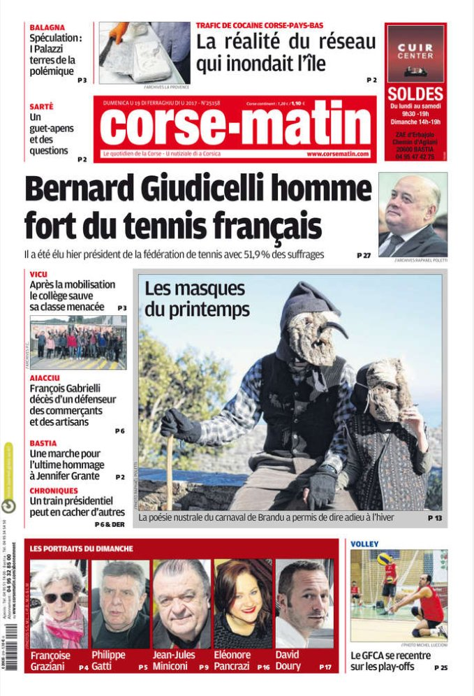 La #Une de Corse-Matin ce dimanche 19 février  http://www. corsematin.com / &nbsp;   #Corse<br>http://pic.twitter.com/sSBWCx6WVo