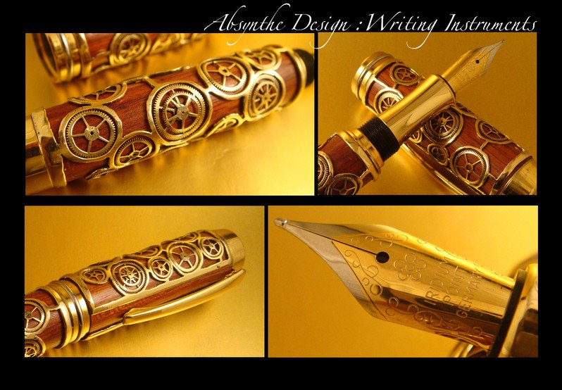 #Steampunk Awesome of the Day: Bloodwood & Cogs Fountain #Pen by Absynthe Design v @steampunkjnkies #SamaCuriosities