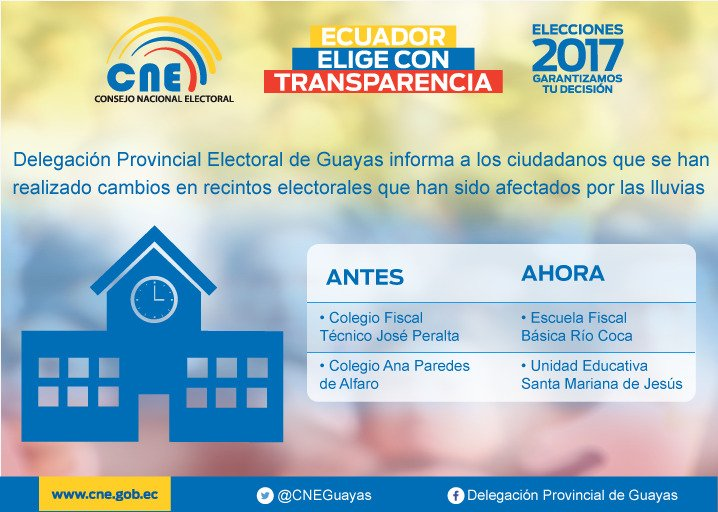 .@cnegobec informa sobre cambios en recintos electorales. #elecciones2...