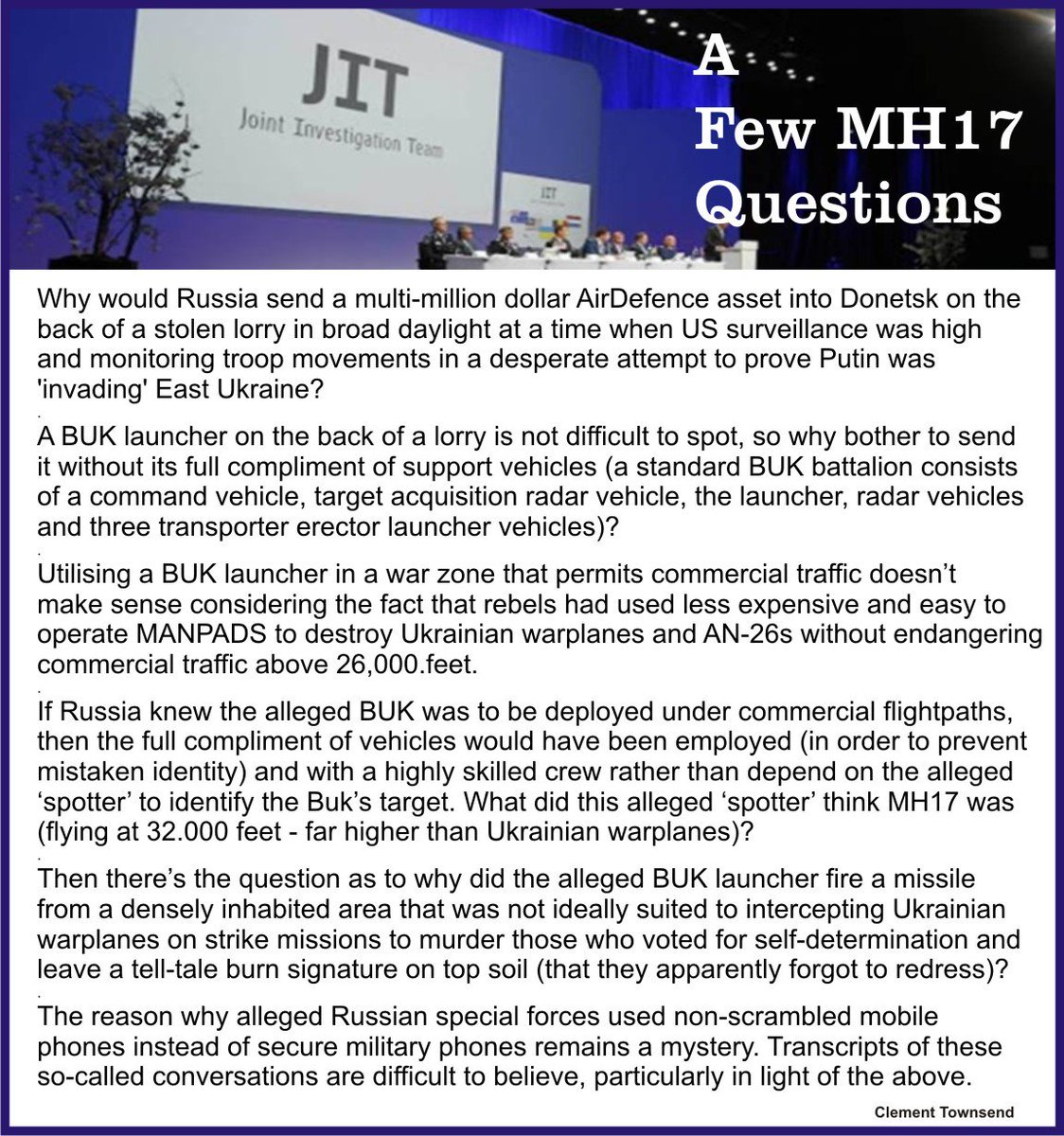 .@MH17Cover_up #Netherlands #Auspol #Ukraine #Russia #US #BBCWorld  JIT questions ....  #MH17Revisted<br>http://pic.twitter.com/HmrqtgRnen