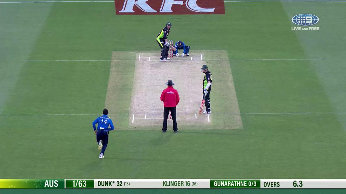 Bowled! A big wicket for Sri Lanka as Dunk departs for a rapid 32. Aus...