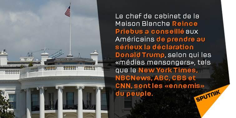 #MaisonBlanche: il faut prendre au sérieux les propos de #Trump sur les #médias mensongers  http:// sptnkne.ws/d9MQ  &nbsp;   #EtatsUnis <br>http://pic.twitter.com/5R8A8bjVvc