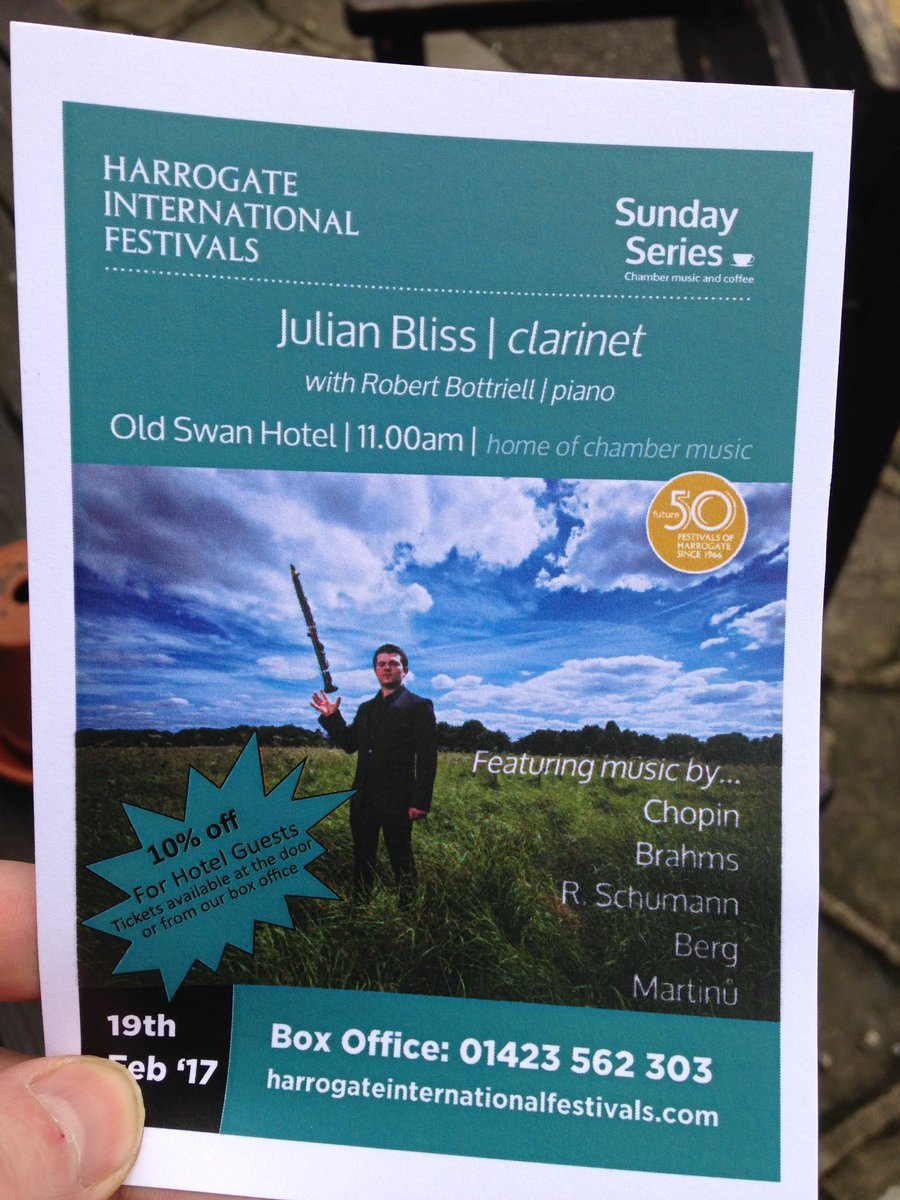 Time for a musical treat from @HarrogateFest - @Julian__Bliss  plays #clarinet @OldSwanHotel #music #harrogate<br>http://pic.twitter.com/839jEFFuFT