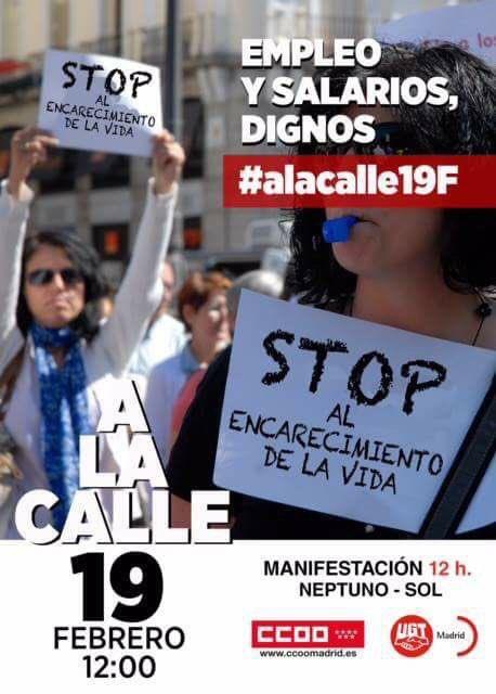 #alacalle19f, a defender el empleo digno, contra los salarios de pobre...