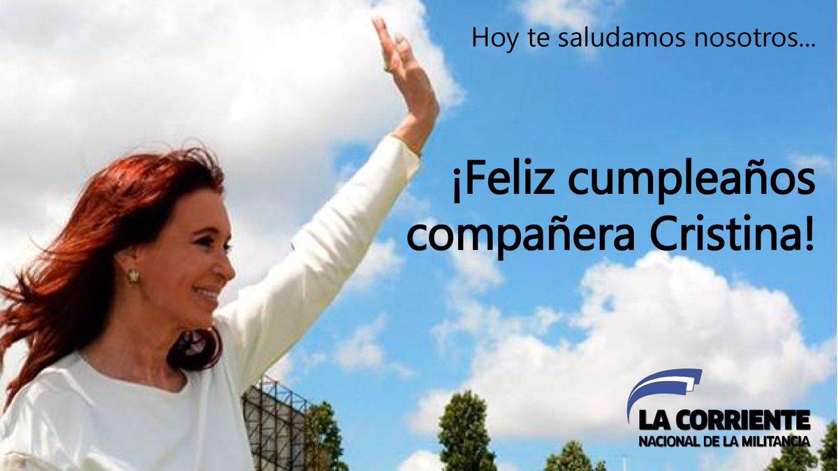 #CristinaCumple ¡Que los cumplas feliz @CFKArgentina ! https://t.co/Dg...