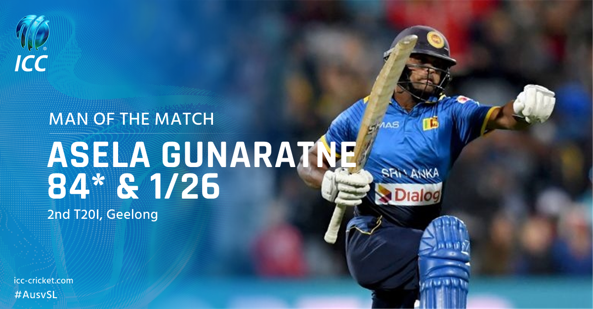 Asela Gunaratne picks up the man of the match award for his contributi...