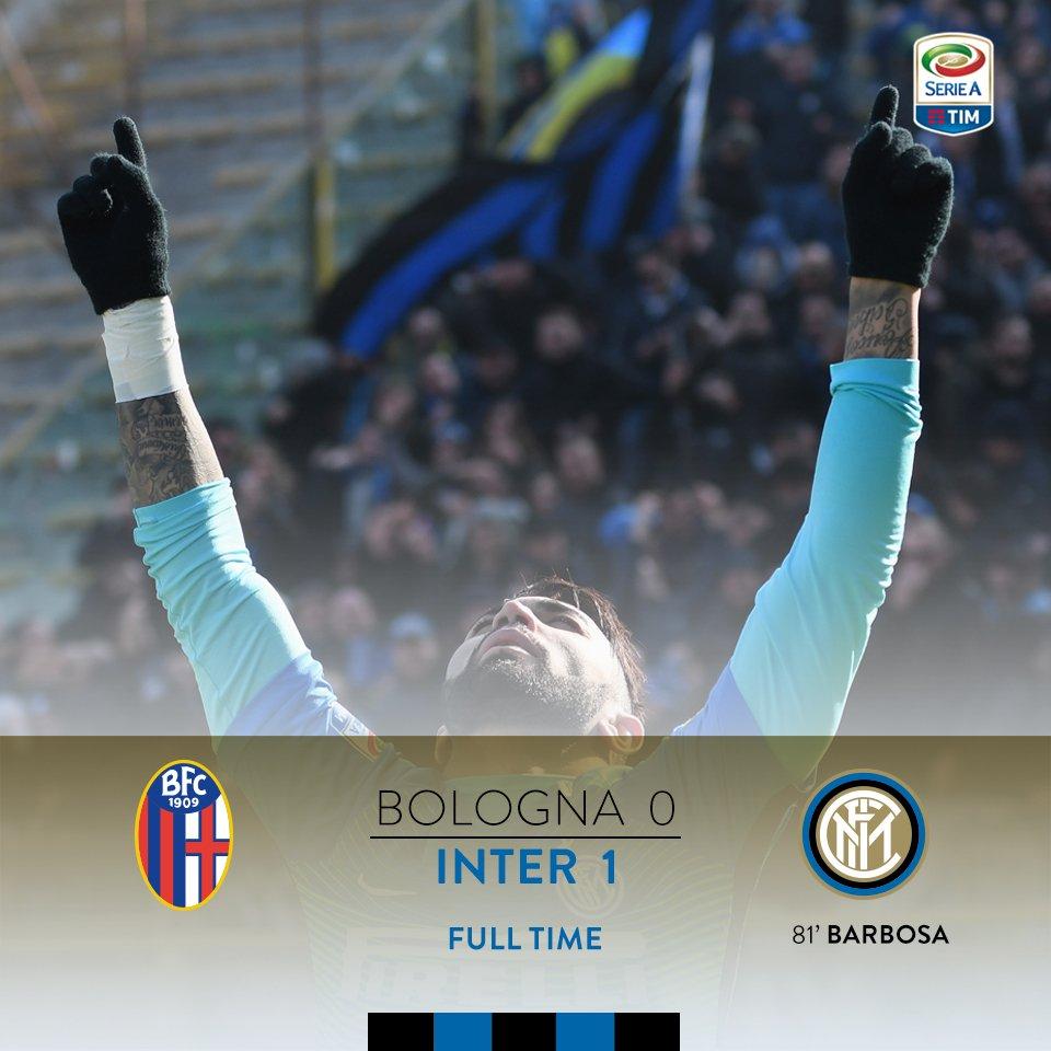 90+5: That's it!! Inter bag the win after @gabigol's strike! #BolognaI...