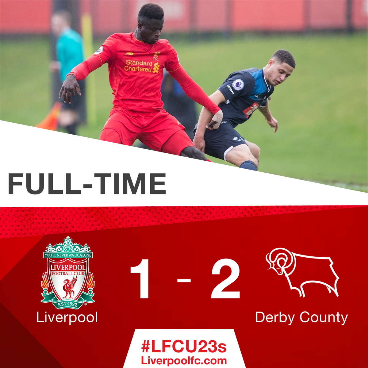 ⏱ A disappointing afternoon for #LFCU23s... https://t.co/z42v3rBLTq