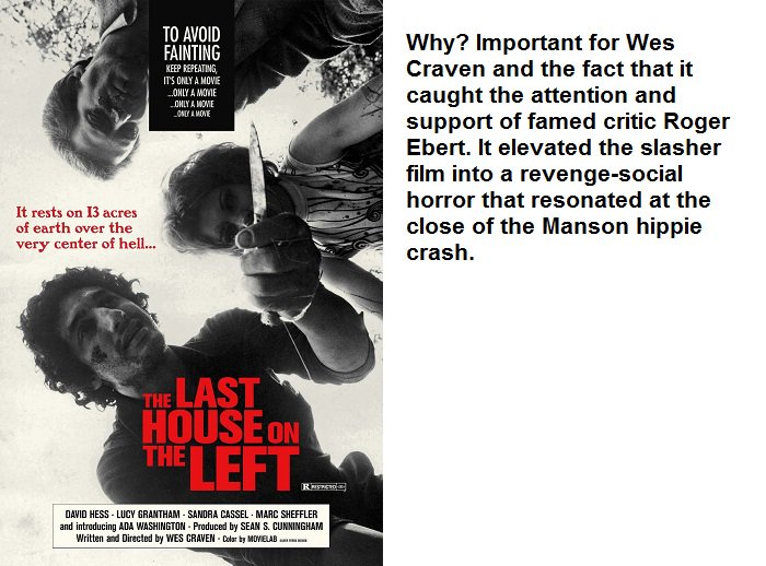 Horror 101: The Last House on the Left (1972). #WesCraven crashes onto the #horror scene with an acclaimed &amp; controversial classic. <br>http://pic.twitter.com/liBST44S2A