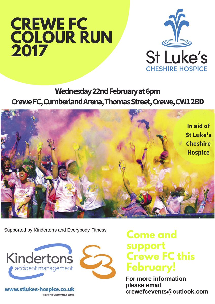 3 DAYS TO GO!  @FcCrewe Colour Run  For @StLukesHospice  Wed 22/02/17  Cumberland Arena   https://www. facebook.com/permalink.php? story_fbid=1336302913117959&amp;id=132666330148296 &nbsp; …   #TogetherStronger <br>http://pic.twitter.com/RnznP2ayPV